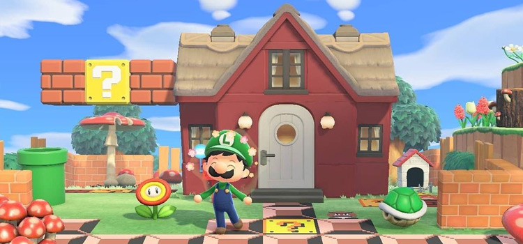 Super Mario Bros-themed Yard Idea in New Horizons