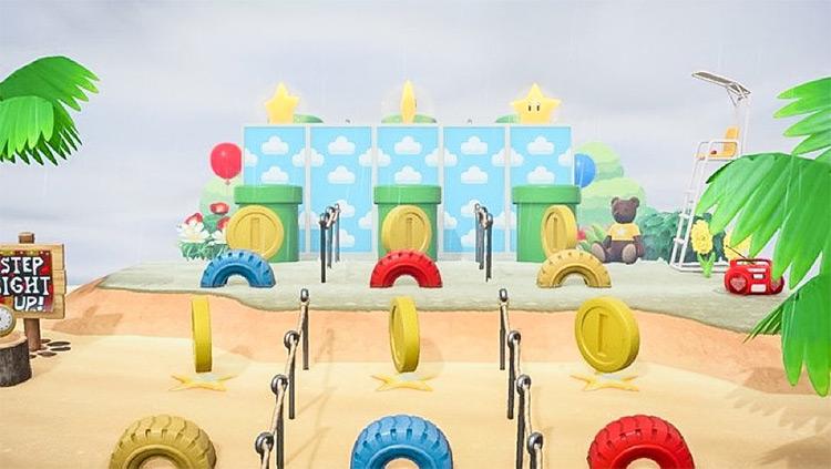 Obstace course with Mario items - ACNH Idea