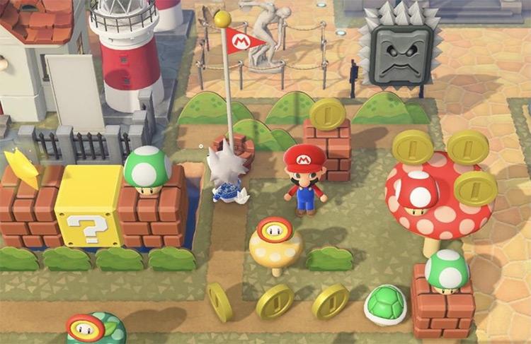 Mario Coin-themed yard idea in ACNH