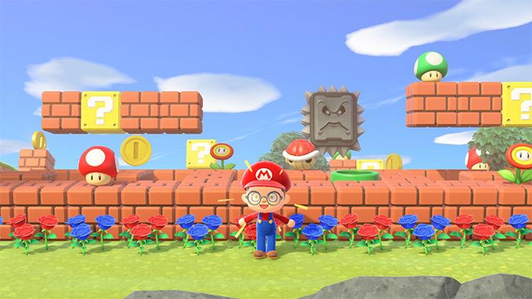 Simple Mario-themed garden area in ACNH