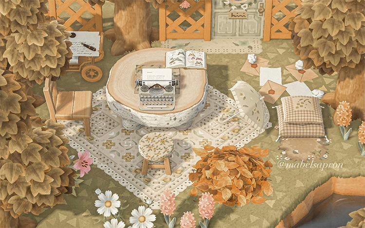 Forestcore writing spot design - ACNH Idea