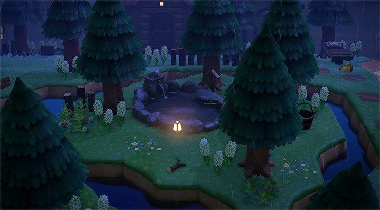 Rainy forestcore rock pond area - ACNH Idea