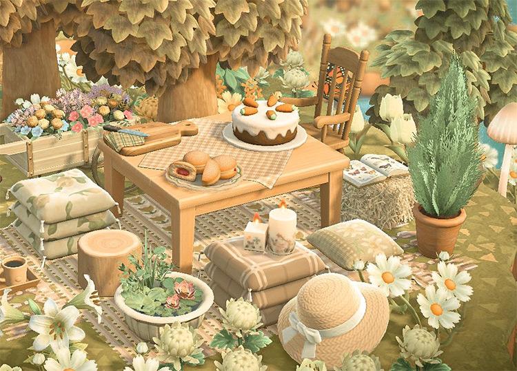 Forestcore woods tea and snacks table - ACNH Idea
