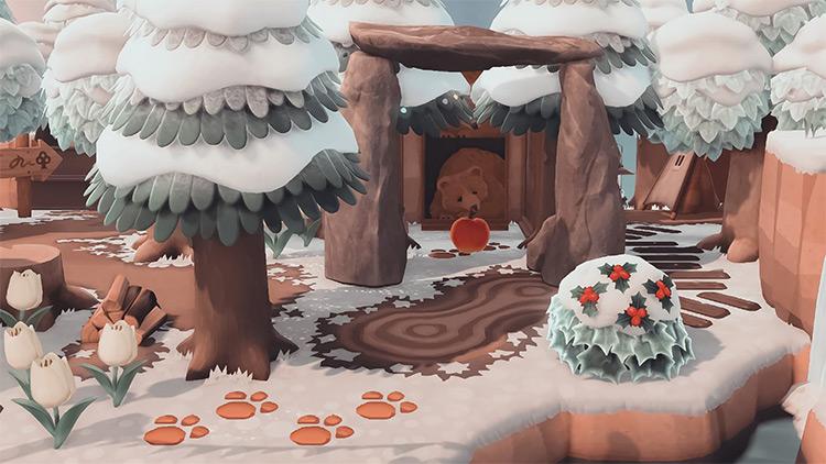 Snowy bear cave in the woods - ACNH Idea
