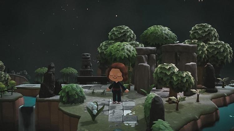 Rock garden in nighttime forest - ACNH Idea