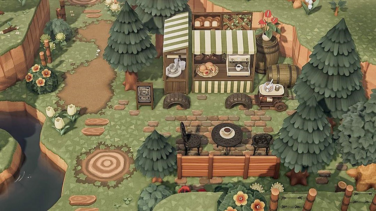 Snack area in the forest - ACNH Idea