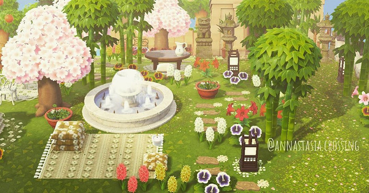 Open bamboo and forest shrine idea in ACNH