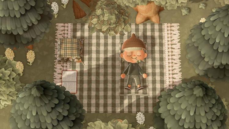Checkered blanket forestcore picnic area - ACNH Idea