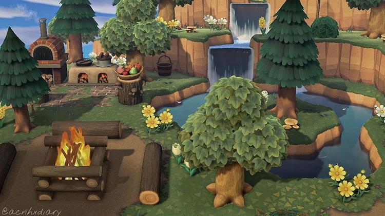 Forestcore outdoor kitchen and campsite area - ACNH Idea