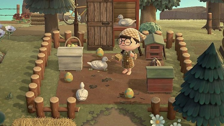 Custom chicken coop in the forest - ACNH Idea
