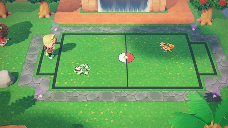 Outdoor battle arena for Pokemon in ACNH