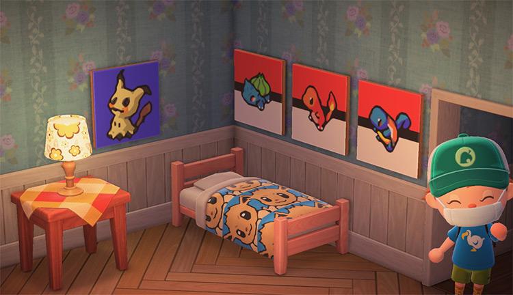 Pokémon Bedroom Pattern Ideas in ACNH