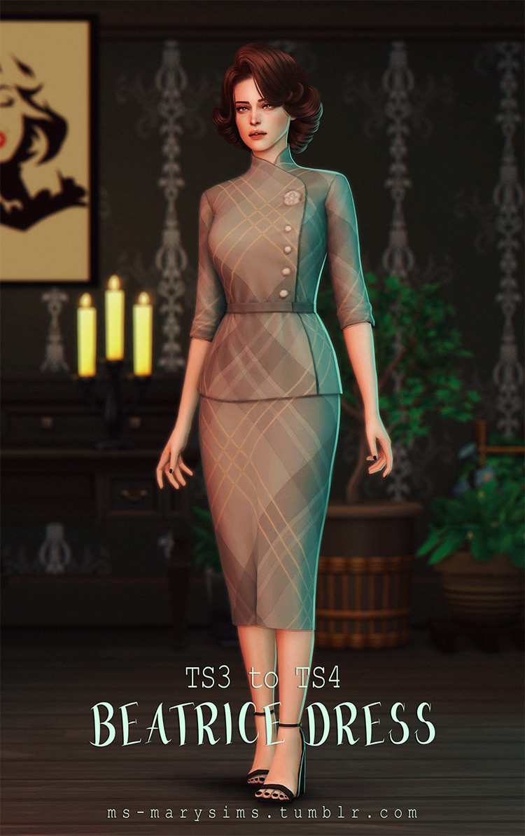 Old-school style dress CC for The Sims 4