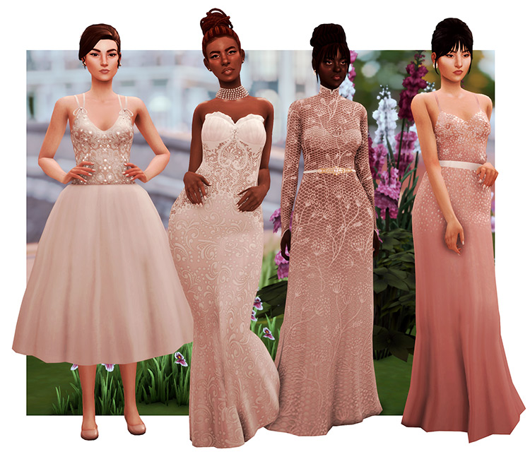 Pink flowy gowns and dress CC set - TS4