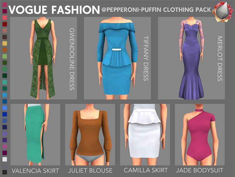 Vogue Fashion Dress CC Collection - Merlot Dress Preview