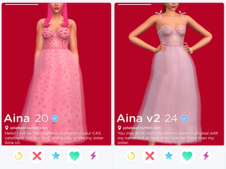 Pink Aina love heart-themed dress CC - TS4