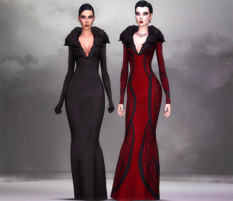 Long evil-style Halloween Dress CC - TS4