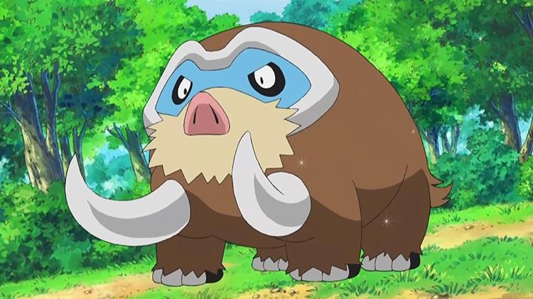 Mamoswine (Ice/Ground) Pokémon anime screenshot