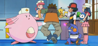 Chansey using pound on Brock in Pokémon anime