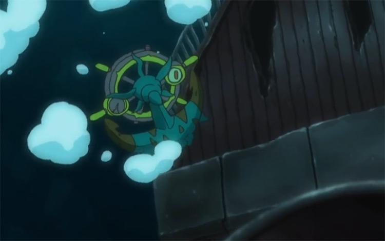 Dhelmise Pokemon anime screenshot