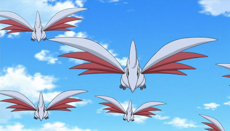 Flock of Skarmory flying in the Pokemon anime