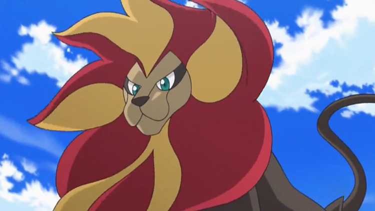 Pyroar Pokemon in the anime