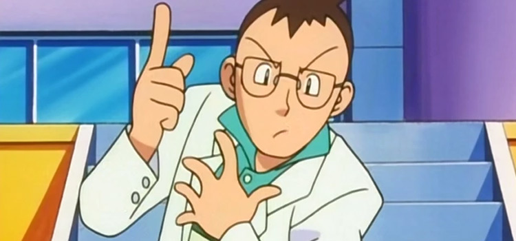 Professor Elm Pointing in the Pokémon anime