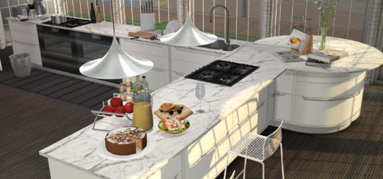 The Sims 4 - Massive kitchen island CC preview
