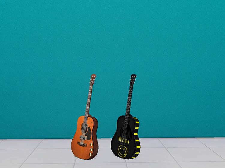 Nirvana Kurt Cobain Guitar Sims 4 CC