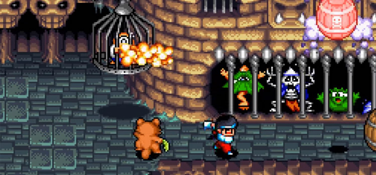 Multiplayer 2P screenshot of Pocky Rocky SNES