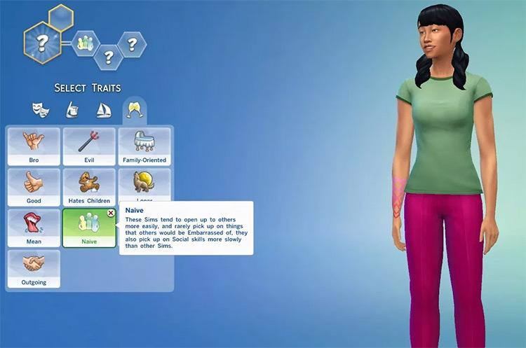 Naïve Trait for Sims4