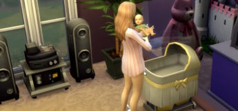 Sims 4 mom holding baby