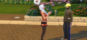Guy and girl sim talking in Sims4