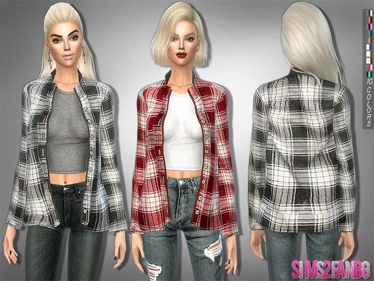 Button Up T-Shirt Sims4 mod