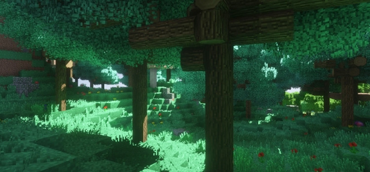Minecraft Forest with better foliage mod