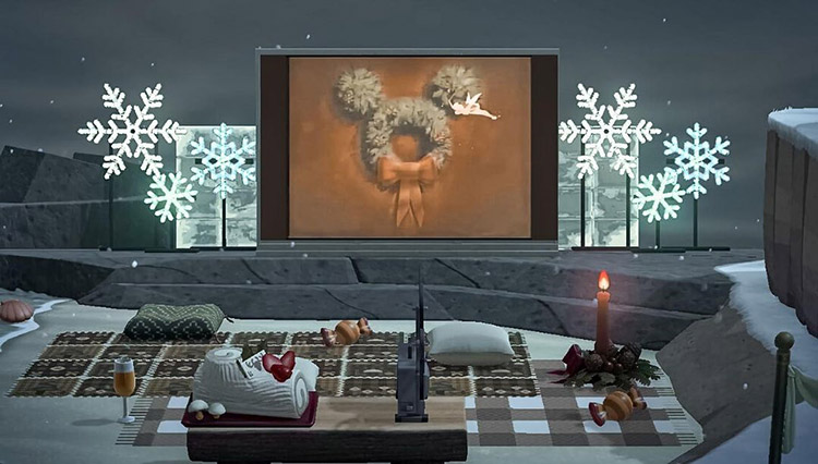 Winter Christmas movie cinema design in ACNH
