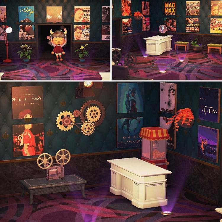 Custom movie theater lobby room in ACNH