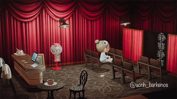 Simple single-room cinema design in ACNH