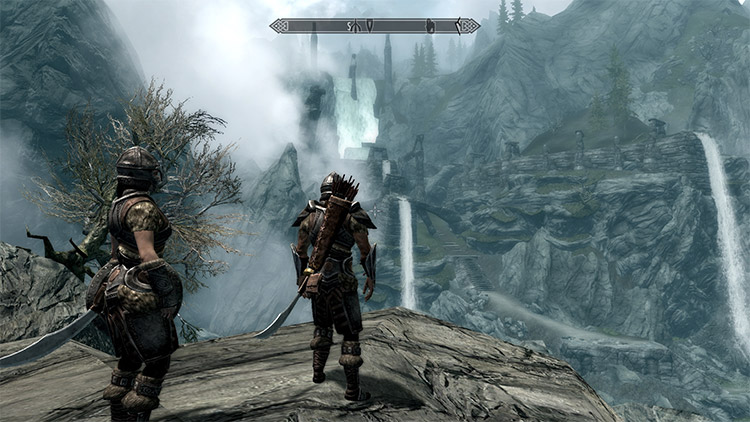 Distant LOD Waterfalls Modded in Skyrim