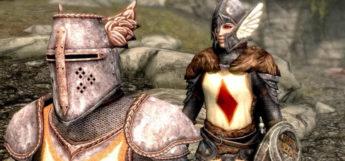 Crusader Knight and Lydia - Medieval Skyrim Screenshot