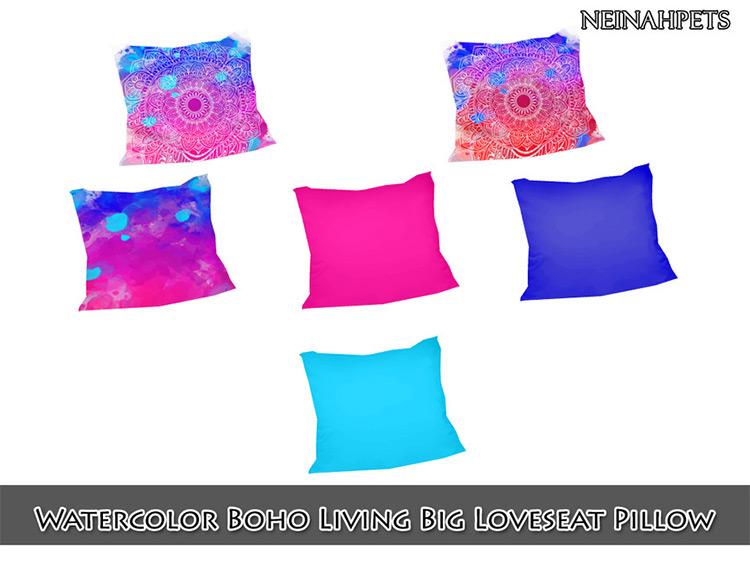 Watercolor Boho Pillows TS4 CC