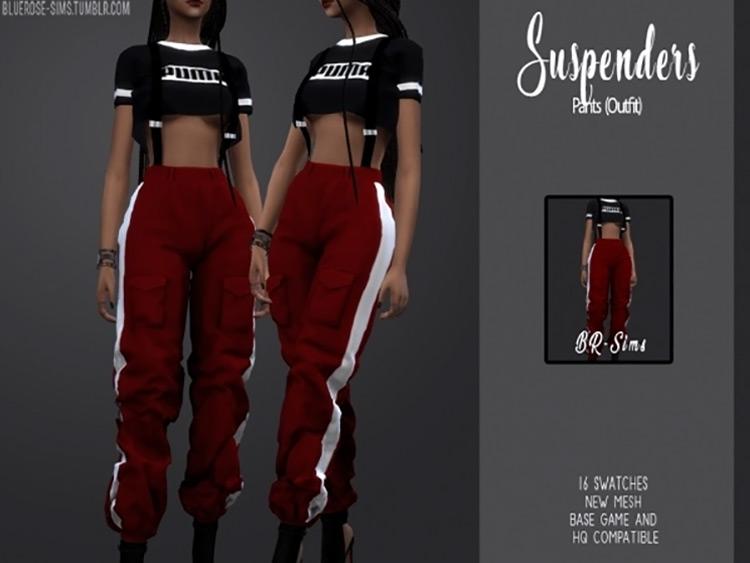 Suspender Pants Outfit Sims 4 CC