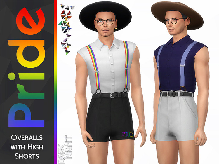 Pride Overalls with High Shorts for Sims 4