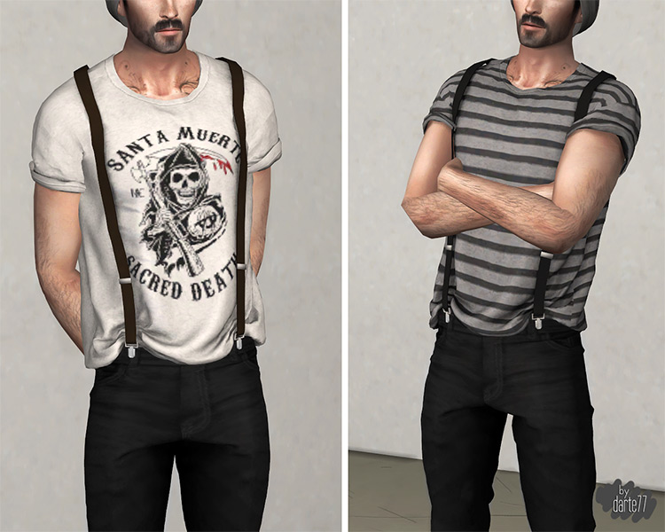 T-shirt with Suspenders Sims 4 CC
