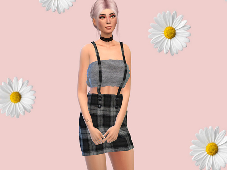 Suspender Skirt with Crop Top TS4 CC