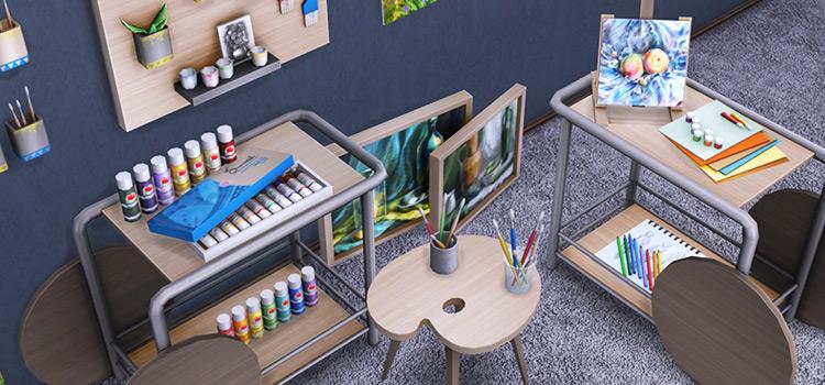 Sims 4 Art Studio Clutter CC Screenshot