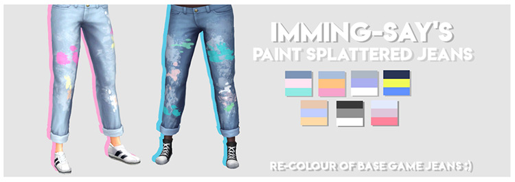 Paint Splattered Jeans TS4 CC