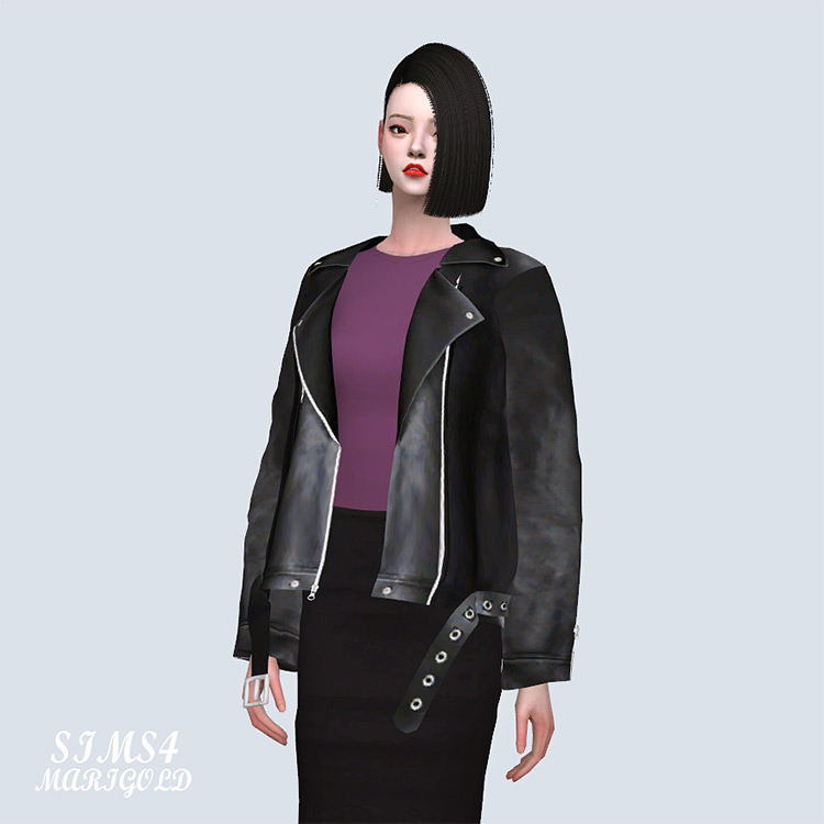Loose-Fit Leather Jacket TS4 CC