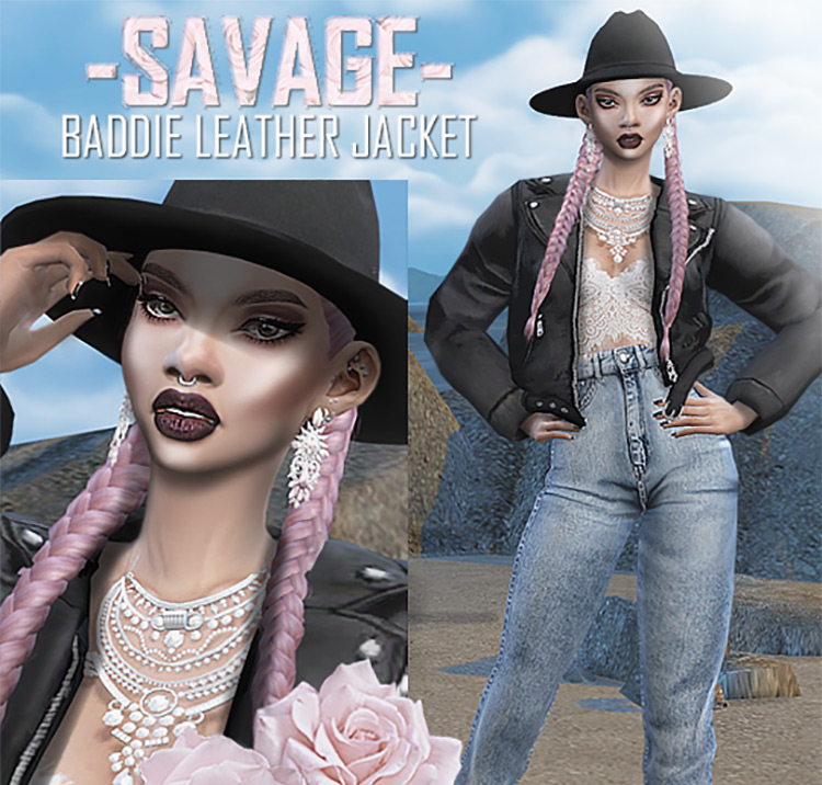 Baddie Leather Jacket Sims 4 CC