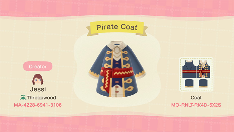 Custom pirate coat design for ACNH